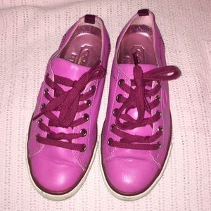 HOT PINK COACH SNEAKERS DEMI CALF LEATHER